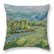 Haying Time In The Valley Throw Pillow