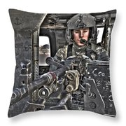 Hdr Image Of A Uh-60 Black Hawk Door Throw Pillow