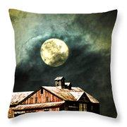 Hdr Moon And Barn Throw Pillow