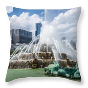 Hdr Picture Of Buckingham Fountain And Chicago Skyline Throw Pillow