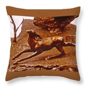 He Who Saved The Deer - Deer Detail Throw Pillow