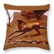 He Who Saved The Deer - Deer Detail Throw Pillow