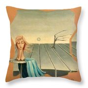 Head In Wind Surrealistic Frame Boards Tree And Hair Waving In Wind Beige Blue Grey Throw Pillow
