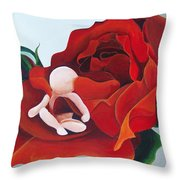 Healing Painting Baby Sitting In A Rose Throw Pillow