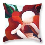 Healing Painting Baby Sitting In A Rose Detail Throw Pillow