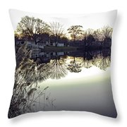 Hearns Pond Reflection Throw Pillow