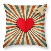 Heart And Cupid With Ray Background Throw Pillow