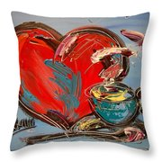 Heart Coffee Cup Throw Pillow