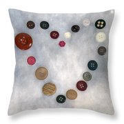 Heart Of Buttons Throw Pillow