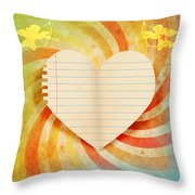 Heart Paper Retro Design Throw Pillow