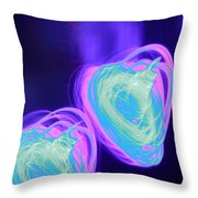 Heart Shaped Glowing Orbs Throw Pillow