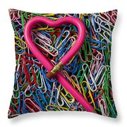 Heart Shaped Pink Pencil Throw Pillow
