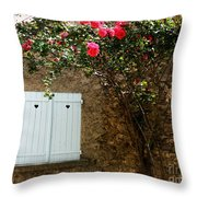 Heart Shutters And Red Roses Throw Pillow