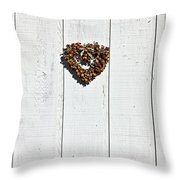 Heart Wreath On Wood Wall Throw Pillow