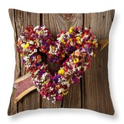 Heart Wreath With Weather Vane Arrow Throw Pillow
