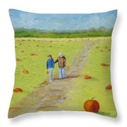 Heather And Poppy Pumpkin Picking Throw Pillow