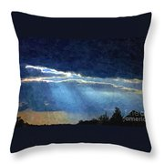 Heaven Opening To Let Out The Sun Painterly Style Throw Pillow