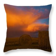 Heavy Clouds And Hay Bales Throw Pillow