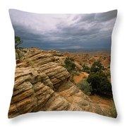 Heavy Clouds Over A Rocky Desert Throw Pillow