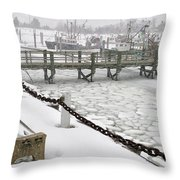 Heavy Snow Falls At Sandwich Marina In Sandwich On Cape Cod Throw Pillow