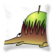 Hedgehog With Apple Throw Pillow