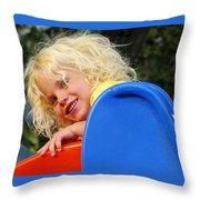 Helena On The Slide Throw Pillow