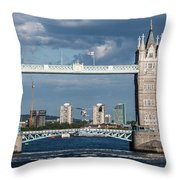 Helicopters And Tower Bridge Throw Pillow