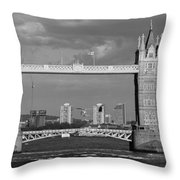 Helicopters Flying Through Tower Bridge Throw Pillow