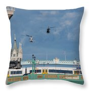 Helicopters Tower Bridge Throw Pillow