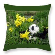 Hello Spring. Ginny From Travelling Pandas Series. Throw Pillow