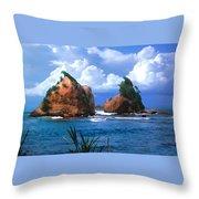 Hells Gate Rocks Near Calibishie Dominica Throw Pillow