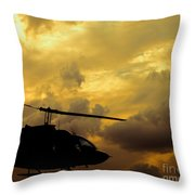Helocopter In Clouds Throw Pillow