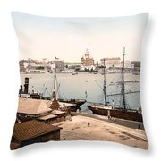 Helsinki Finland - Russian Cathedral And Harbor Throw Pillow