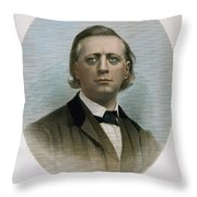 Henry Ward Beecher (1813-1887). American Clergyman. At Age 50: Steel Engraving, 19th Century Throw Pillow