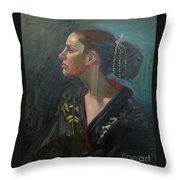 Her Kimono Throw Pillow by Lilibeth Andre