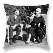 Herbert Hoover Seated With His Wife Throw Pillow