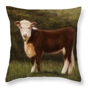 Hereford Heifer Throw Pillow