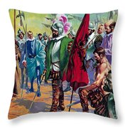 Hernando Cortes Arriving In Mexico In 1519 Throw Pillow