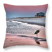 Heron And Beach House Throw Pillow