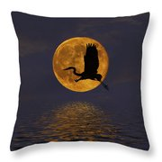 Heron And The Harvest Moon Throw Pillow