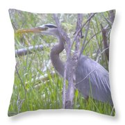 Heron In The Shade  Throw Pillow