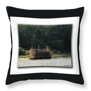 Heron On The Blind Throw Pillow