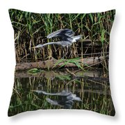 Heron Reflected In The Water Throw Pillow