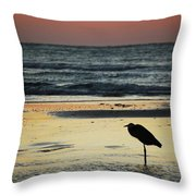 Heron Waiting For The Sunrise Throw Pillow