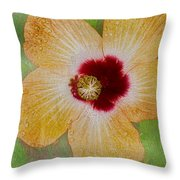 Hibiscus Gold And Red Throw Pillow