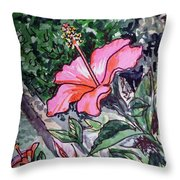 Hibiscus Sketchbook Project Down My Street  Throw Pillow