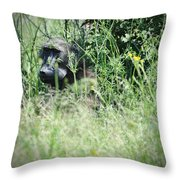 Hiding In Tall Grass Throw Pillow