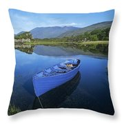 High Angle View Of A Boat In A Lake Throw Pillow