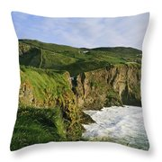 High Angle View Of A Coast, County Throw Pillow
