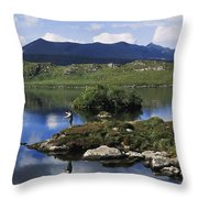 High Angle View Of A Man Fishing In The Throw Pillow
